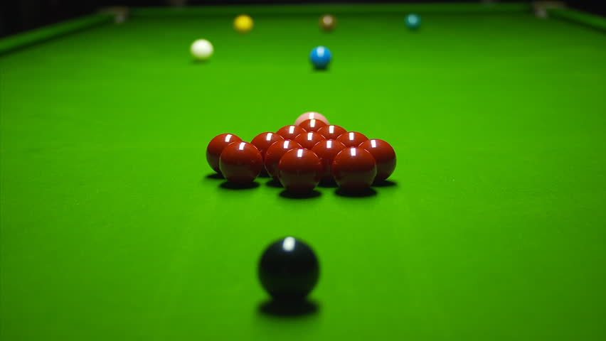 Snooker Ball Triangle Break Low View Stock Footage Video