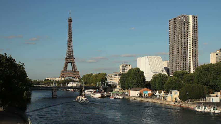 Eiffel Tower in Paris with Boat | Shutterstock HD Video #670075