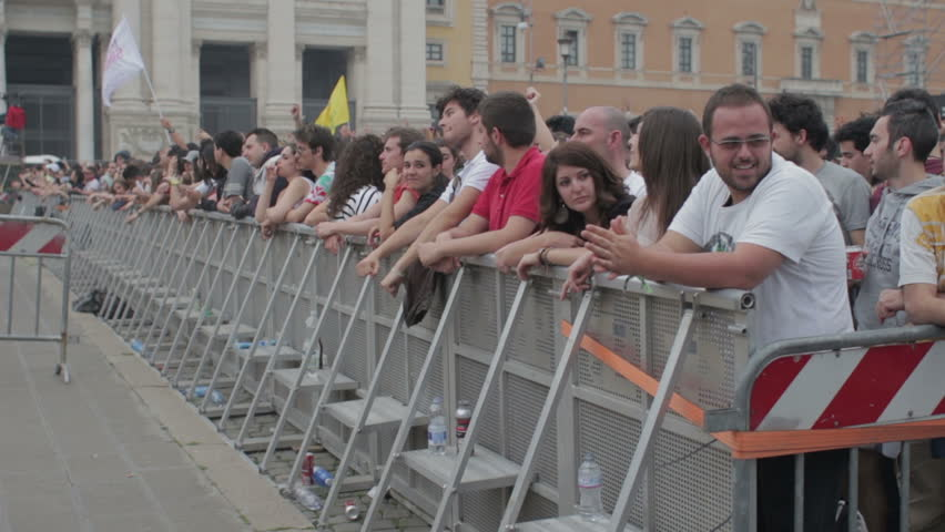 """ROME - MAY 1 2013: """"people waiting for orck concert in Rome. """"Workers' Day Concert"""", Piazza San Giovanni (San giovanni Square) - Workers' Day, Rome, Italy."""