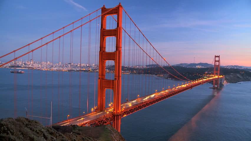 Time-lapse of traffic on Golden Gate Bridge, San Francisco at sunset