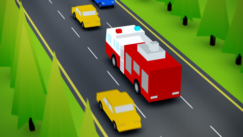 Elevated View Of Fire Truck On Busy Road   Shutterstock HD Video #6731557