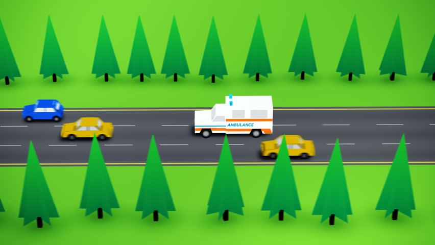 Ambulance Speeding On The Street. 2D style animation. | Shutterstock HD Video #6731575