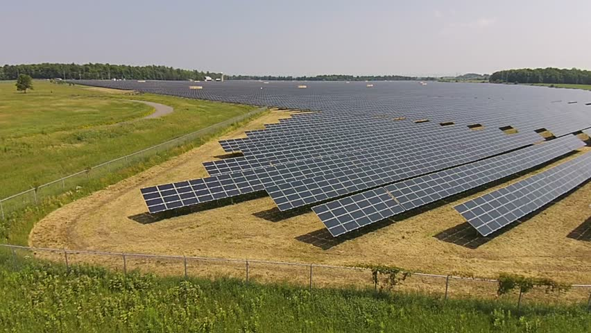 Large Renewable Green Energy Solar Farm With Many