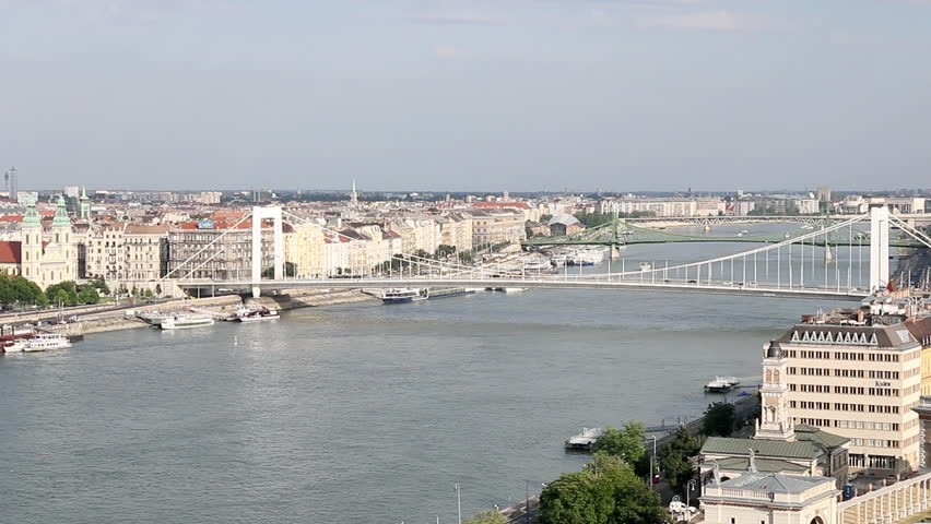 Elisabeth bridge on Danube river Budapest - HD stock video clip
