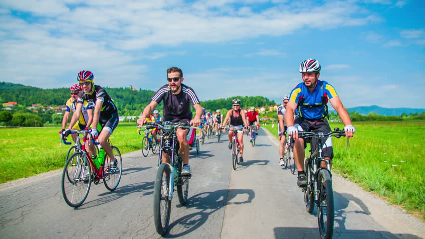 VRHNIKA, SLOVENIA - JUNE 2014: Bicycle marathon competition around Vrhnika. SLOW MOV: Bicycle race in beautiful nature landscape | Shutterstock HD Video #6806680