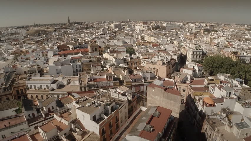 Lateral aerial shot of Seville, Spain. Slow Motion. 60 fps. HD