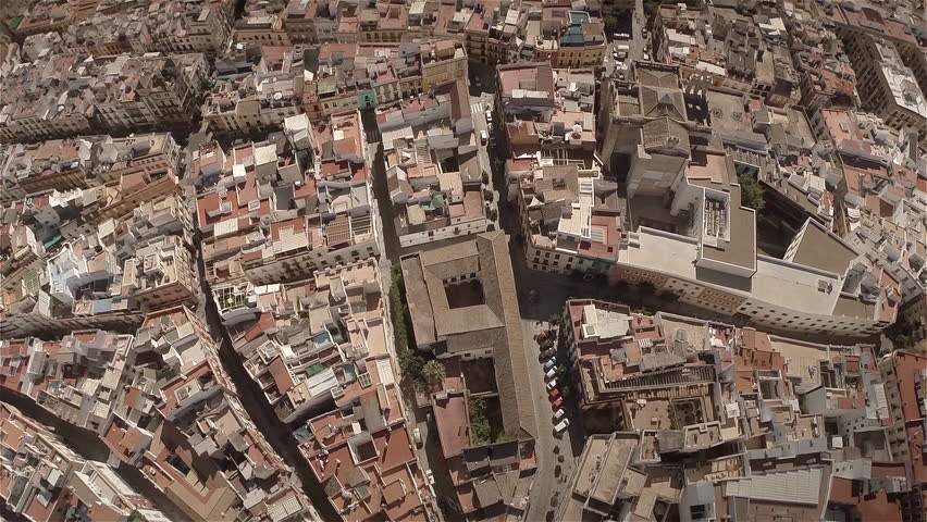 Aerial back travelling of Seville, Spain. Slow motion. 60fps. HD