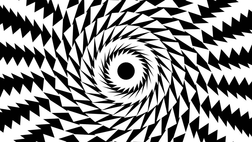 Black and white spiral of twisting rotating triangles.This animation can be used for live visuals, VJing, illustrating concepts, background, intro for a show, or b-roll in a film or video.