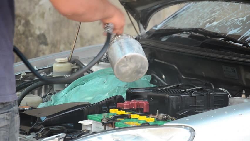 cleaning car machine in car care service - HD stock video clip