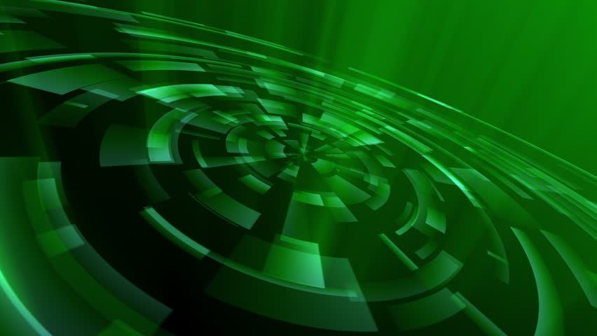 Green techno animation. Loop between 6:00-18:00. Abstract concentric circles; could represent digital scan, radar, camera lens aperture, high-tech interface, or other science / technology. In 4K.