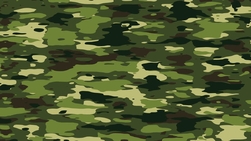 Camouflage Pattern Background Loop In Jungle Forest Camo