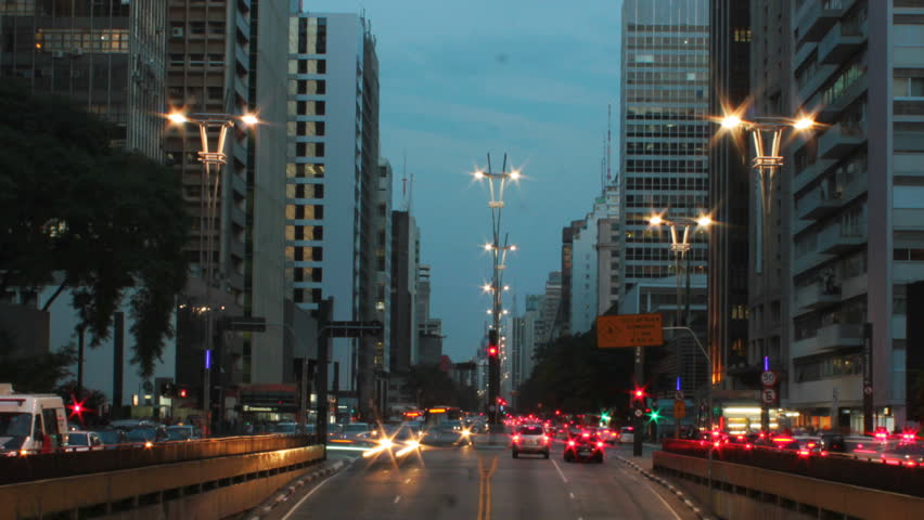 Rush hour on Avenida Paulista, Sao Paulo - Brazil - timelapse. Paulista avenue is one of the most important avenues in Sao Paulo. | Shutterstock HD Video #6935650