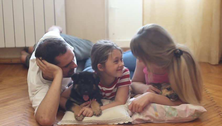 Happy young family with two dogs lying on the wooden floor | Shutterstock HD Video #6938998