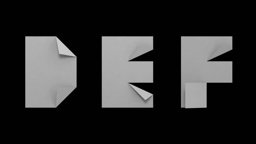 White paper animated D E F letters isolated on black background. Alpha-channel included.