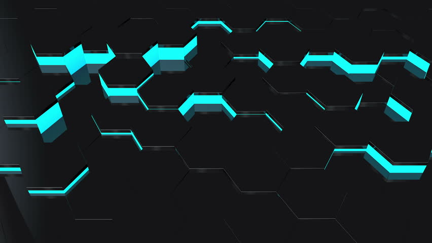 Abstract Background With Moving Black Hexagons With Blue