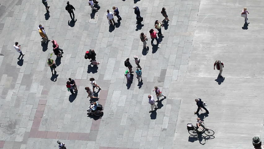 People walking on plaza in pedestrian zone - aerial top view | Shutterstock HD Video #6946729
