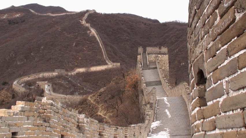 Along the Great Wall of China in winter. - HD stock footage clip