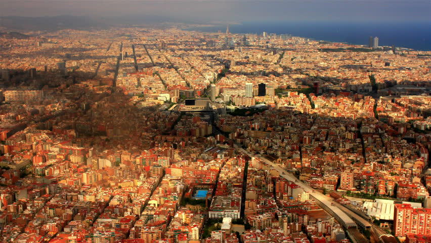 BARCELONA, SPAIN, AUGUST 2013  Aerial view over Barcelona, Spain. - HD stock video clip