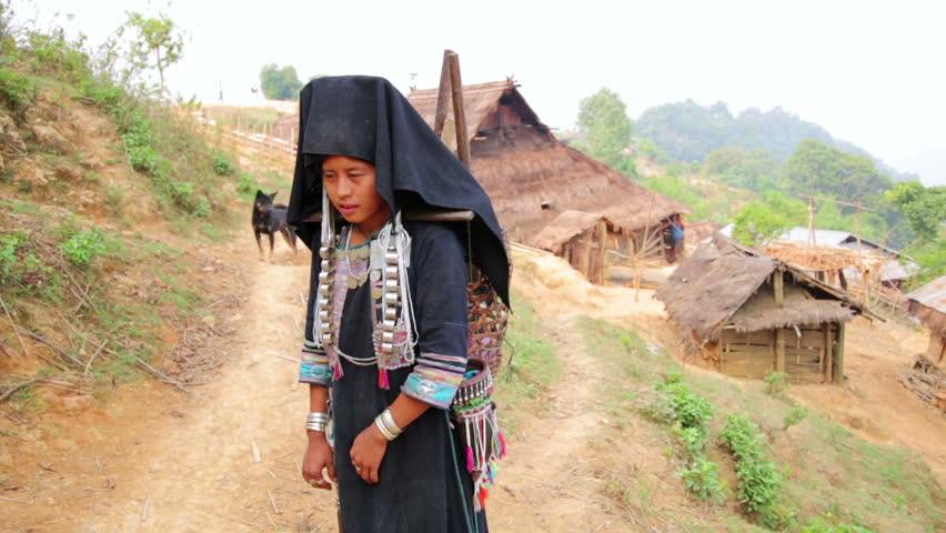 Asian tourist native tribe clip