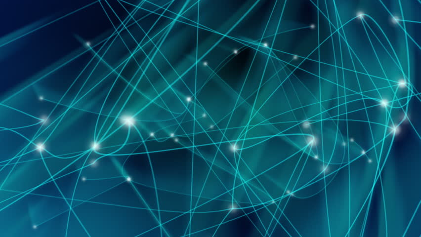 Animation of a blue growing network of connected lines and dots, with light trails. Loops between 9:00-18:00. Abstract communications, technology, internet, social media concepts etc. In 4K ultra HD. - 4K stock footage clip