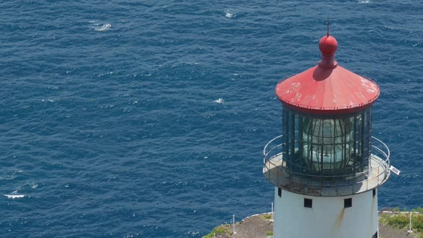 Makapuu, Hawaii - June, 2014 - Panning shot of the Makapuu Point Lighthouse on the southeastern most point of Oahu.