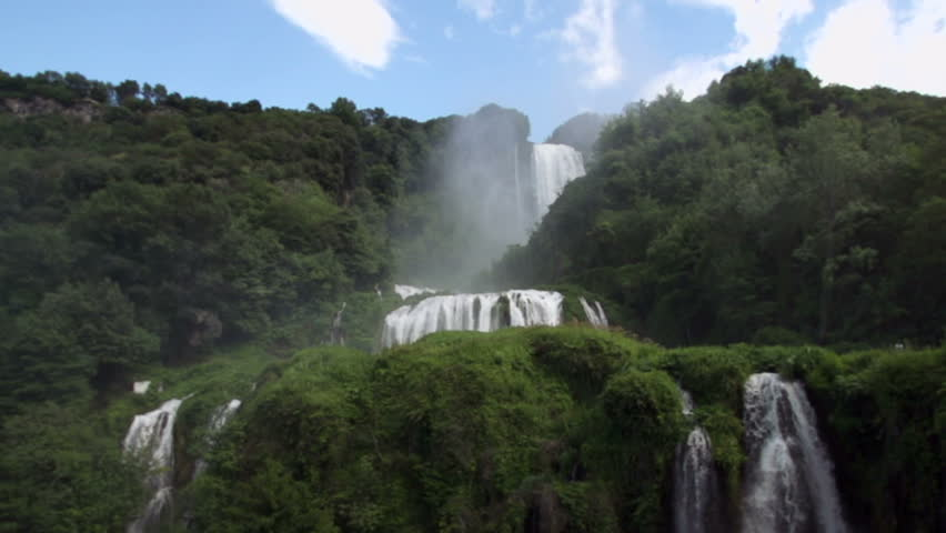 Slow Motion Waterfall with video zooming out - HD stock video clip