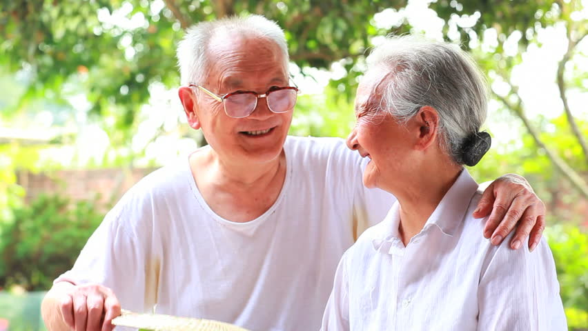happy senior asian couple together - HD stock footage clip