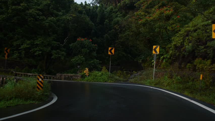 Maui, Hawaii - May, 2014 - Head on shot of the drive over a bridge along Hana Highway.