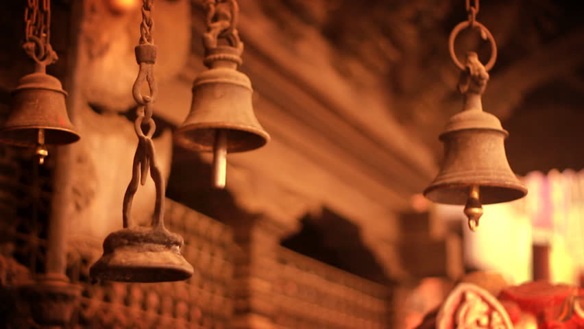 Ancient Bells on a temple in Kathmandu, Nepal. - HD stock footage clip
