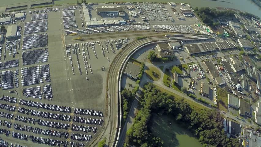 Aerial view of Annacis Island car ship port, BC Canada - HD stock video clip