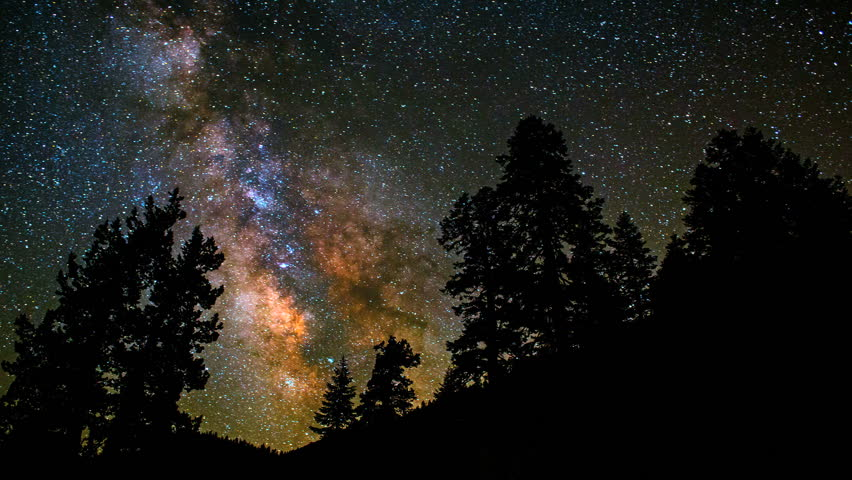 Amazing milky way core in time-lapse passing across trees in pristine night sky.
