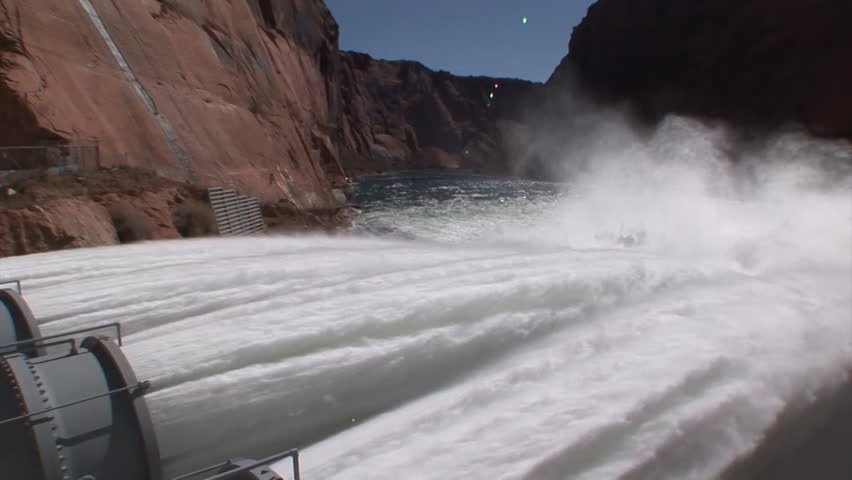 CIRCA 2010s - Emergency water supplies are released from Glen Canyon Dam