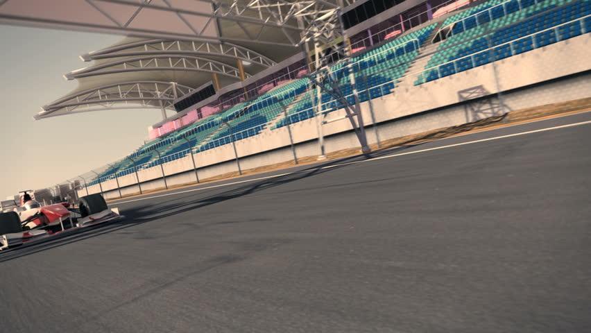 Formula One Race Car Speeding