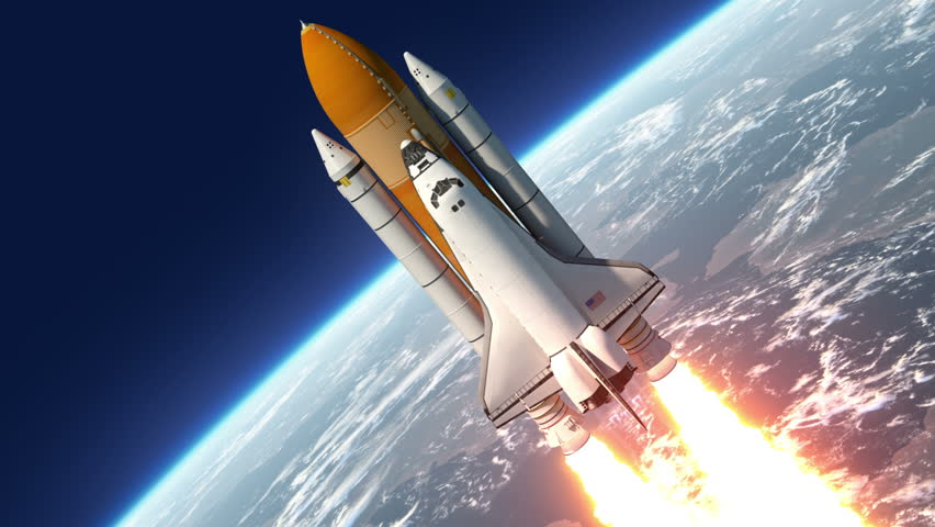 Space Shuttle Launch. 3D Animation. Stock Footage Video