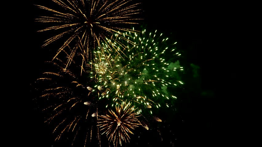 Fireworks Video Compilation 4k . Combined from several dozen firework shots to create final composited scene.  | Shutterstock HD Video #7124020