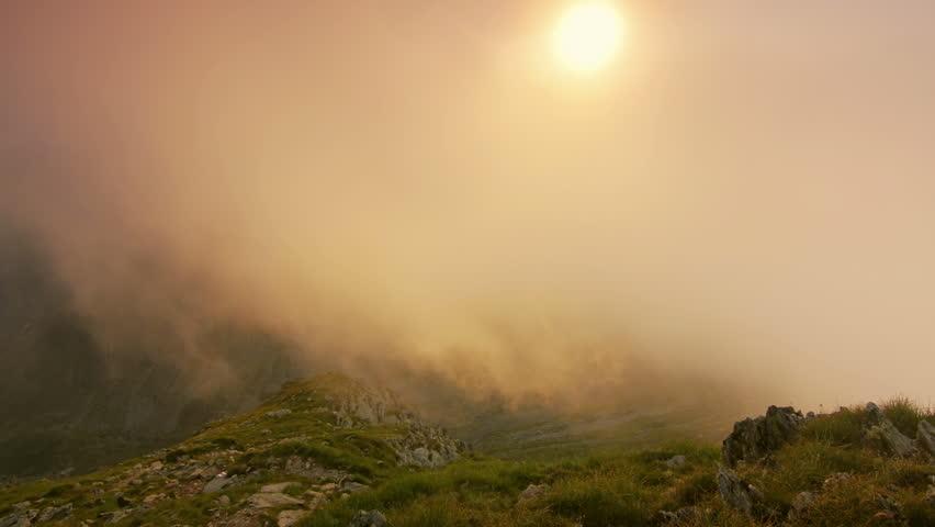 Weather turning bad on alpine meadows Carpathian mountains Fagaras massif, Romania 4K