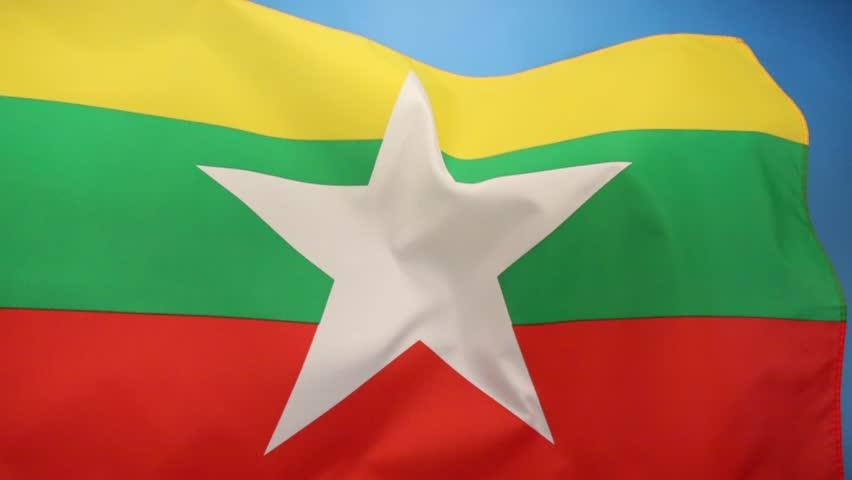 The Republic of the Union of Myanmar, adopted a new state flag on 21 October 2010 to replace the former flag in use since 1974. - HD stock video clip