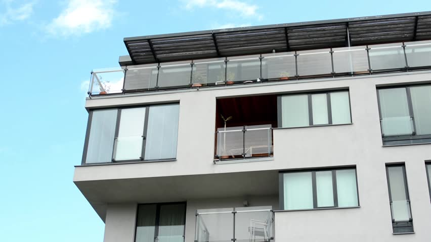 Modern Building Balcony Windows Blue Sky Fence With Nature