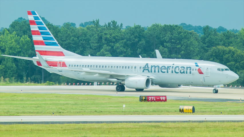 ATLANTA - 2014: American Airlines Boeing 737-823 Taxiing at Hartsfield-Jackson Atlanta International Airport shortly After Arrival on a Sunny Summers Day.