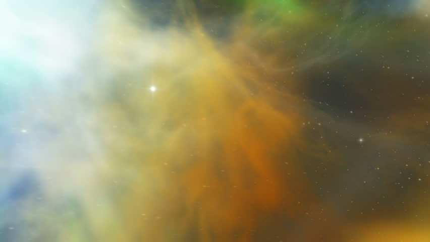 Journey through (zoom out) incredible nebula with true 3D volumetric space gas / clouds (not faked in 2D) into star field. 4K Ultra HD.
