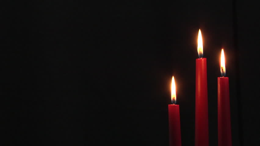Group Of Three Burning Dark Red Dinner Candles With Black ...