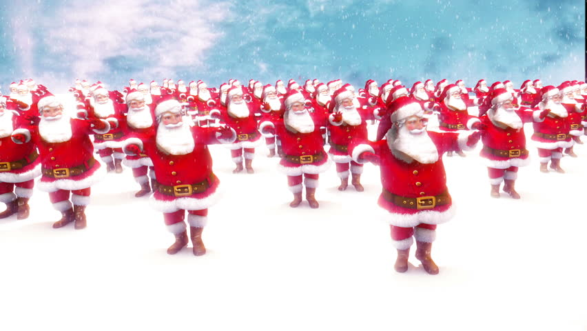 Many Santas dancing loop