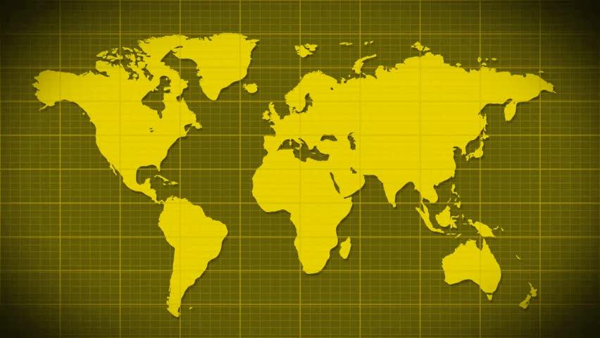 world map scanning satellite radar loopable HD stock footage clip
