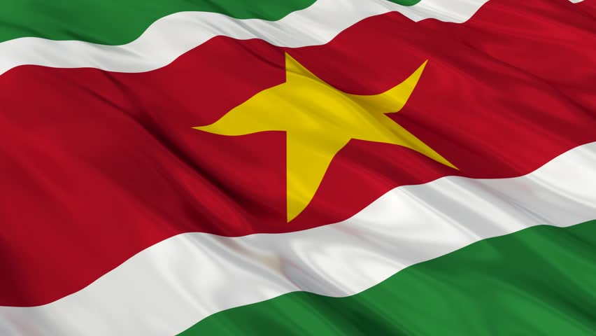 Flag of Suriname waving in the wind. Seamless looping. 3d generated. - HD stock video clip