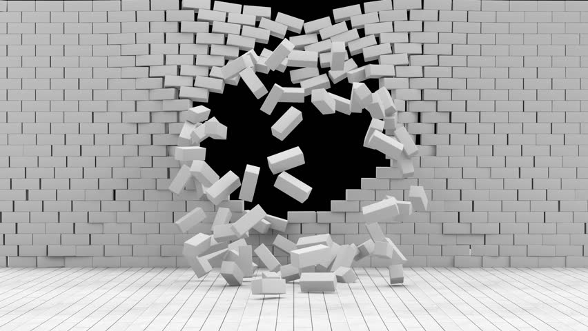 4K Full Ultra HD 4096x2304 Video Clip. Animation of Broken Brick Wall on Black Background with Green Screen and Alpha Matte