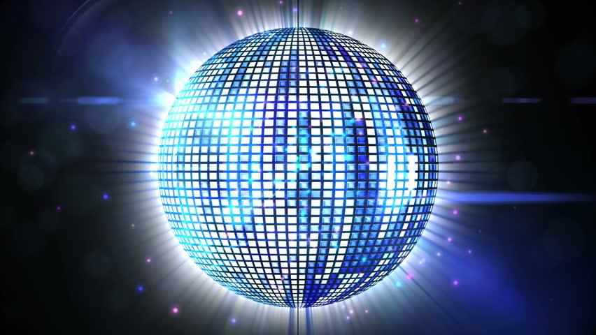digital animation of shiny disco ball spinning around