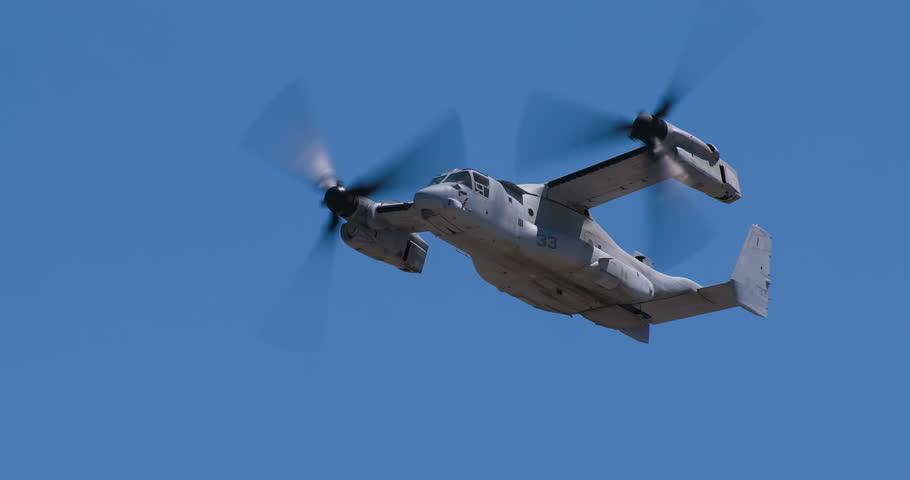 MV22 Osprey plane doing low fly over camera