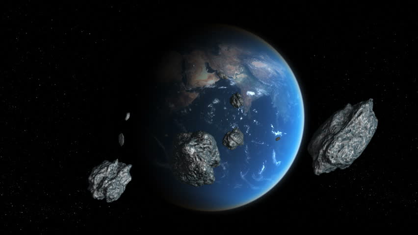 Asteroid Strike Over Earth, Meteor Rain Stock Footage ...