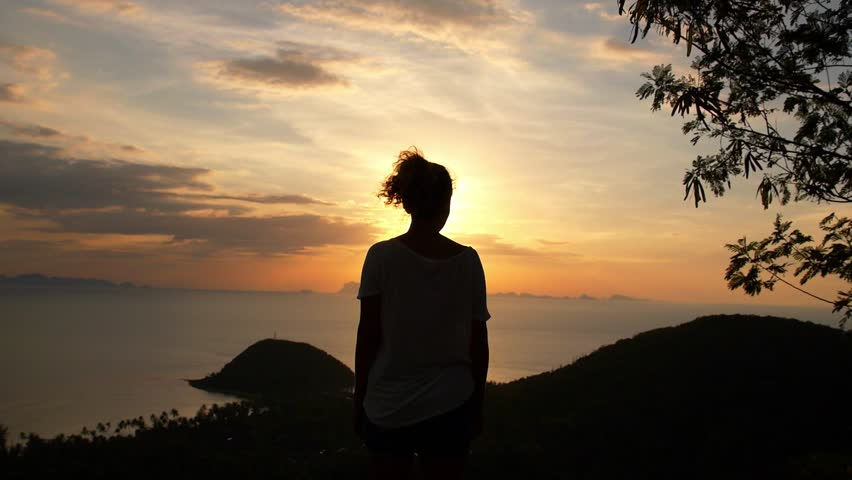 Woman Admiring the Sunset over the Sea. View Point on Exotic Island of Koh Samui. Thailand. Slow Motion. HD, 1920x1080.
