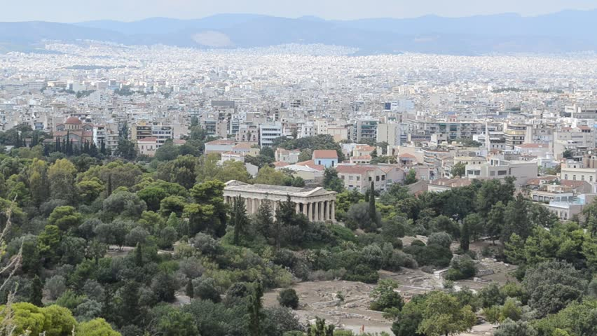 Temple of Hephaestus. View from the Acropolis, Athens. The Temple of Hephaestus is the best-preserved Greek temple in the world. Athens, Greece 2014. - HD stock video clip